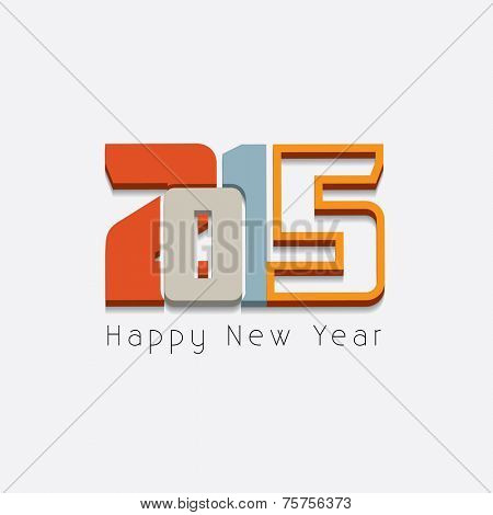 New year 2015 Text Design on white background