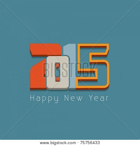 New year 2015 Text Design on blue background.