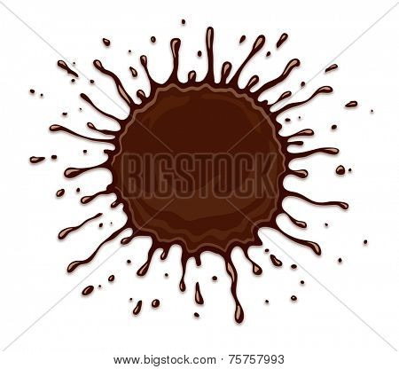 Round chocolate splash with drops and blots. Eps10 vector illustration isolated on white background