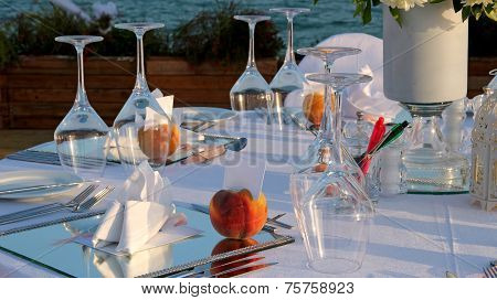 Restaurant Table Setting By The Sea