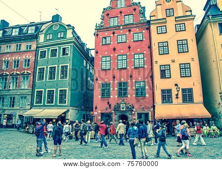 Colorful houses in Stockholm