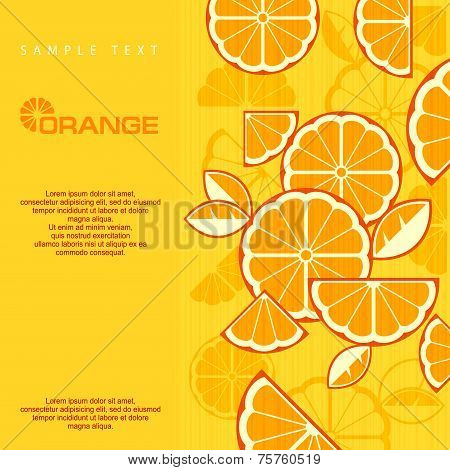 Citrus Fruit Slices Background In Yellow & Text, Vector Illustration