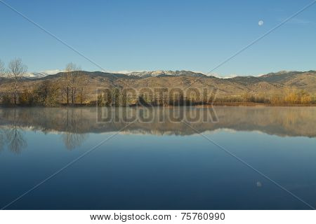 Coot Lake Morning Moon Set Reflections