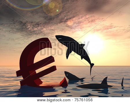 Conceptual bloody euro symbol or sign sinking in water or sea, with black sharks eating as metaphor or concept for crisis in Europe, ideal for financial, business or currency, money, depresion designs