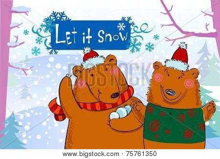 Seasonal greetings, illustration of cute bears playing snowballs.