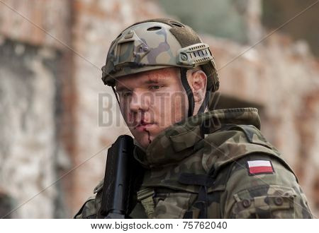 Soldier In Polish Army Uniform During  Historical Reenactment