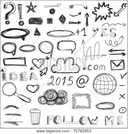 Communication, social media, internet doodles vector. Hand drawn web design
