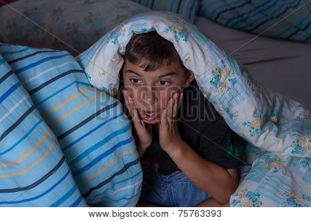 Horrified Boy Watching Film At Night