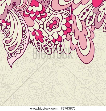 Hand-drawn Doodle Waves Floral Pattern, Abstract Leaves And Flowers. Vector Seamless Background.