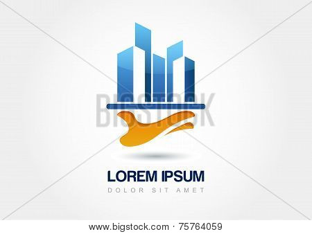 Abstract Silhouettes Architecture On Hand, Design Concept For Real Estate Agencies. Vector Logo Icon