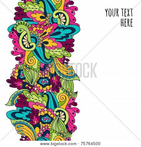 Hand-drawn Doodle Waves Floral Pattern, Abstract Leaves And Flowers. Vector Seamless Background