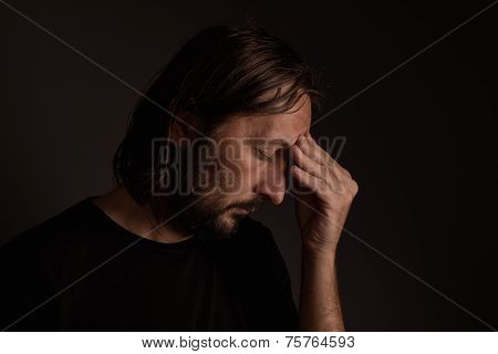 Bearded Adult Man With Migraine Headache