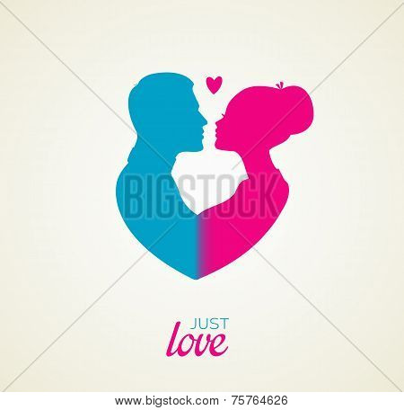 Couple's silhouette kissing image