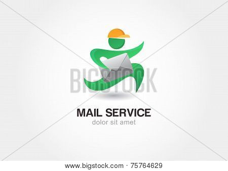 Running Man With Postal Envelope. Courier With Parcel. Mail Service. Delivery Themes
