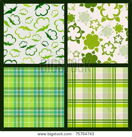Cotton Plant Floral And Green Plaid Background. Vector Seamless Pattern Set