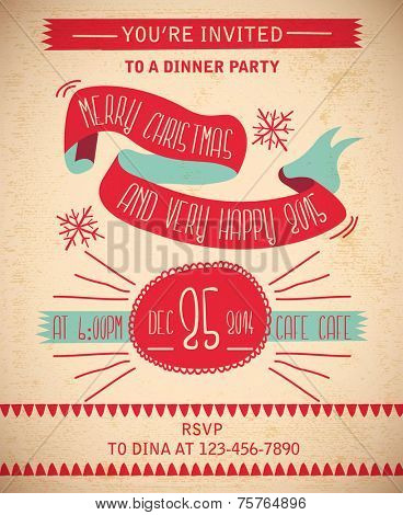 Christmas Party Dinner Invitation Card