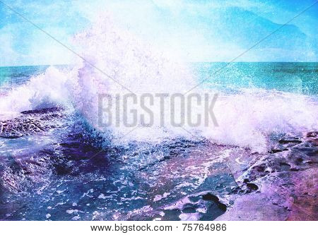 Ocean tidal waves hitting the Beach Cliff