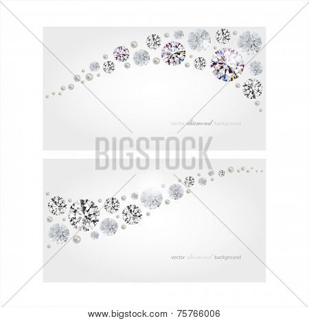 Vector horizontal banners with diamonds and pearls