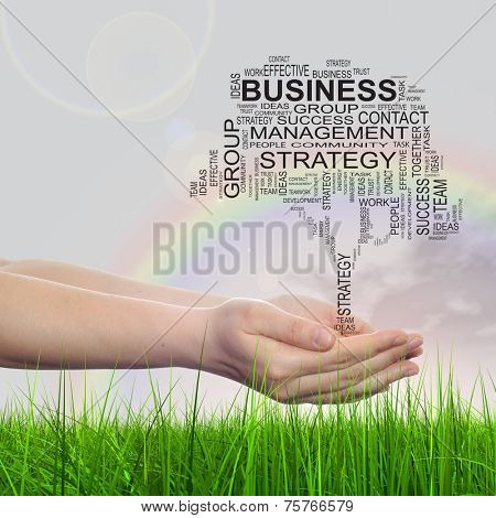 Concept conceptual text word cloud on man hand, tagcloud on rainbow sky background and grass, metaphor to business, team, teamwork, management, effective, success, communication, company or group