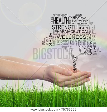 Concept conceptual black text word cloud tagcloud as tree in man or woman hand on rainbow sky background and grass, metaphor to health, nutrition, diet, body, energy, medical, sport, heart science