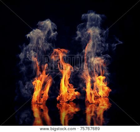 the fire with smoke over black background. Beautiful CG illustration