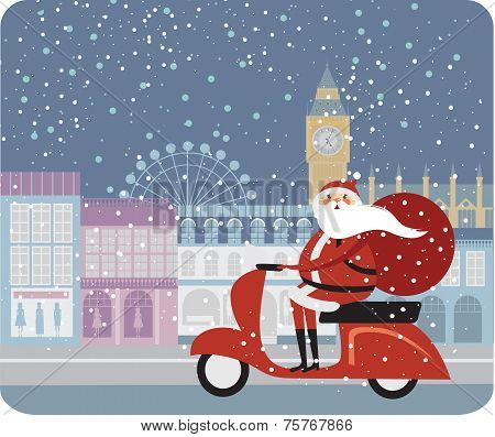 Santa driving scooter in London