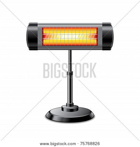 Electric Heater Isolated On White Vector