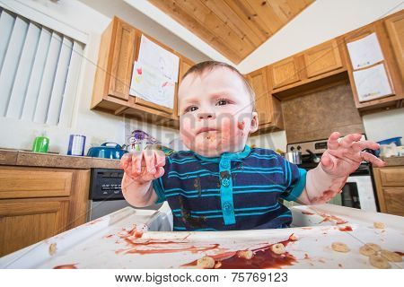 Grumpy Child Eats