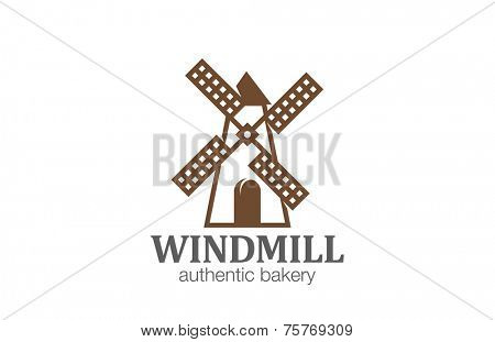 Windmill Logo Bakery design vector template. Wind mill logotype concept icon line art.