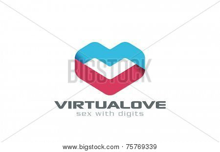 Virtual Love dating Ribbon shape Heart Logo design vector template. Medical Cardiology Creative concept. Valentines Day Logotype.