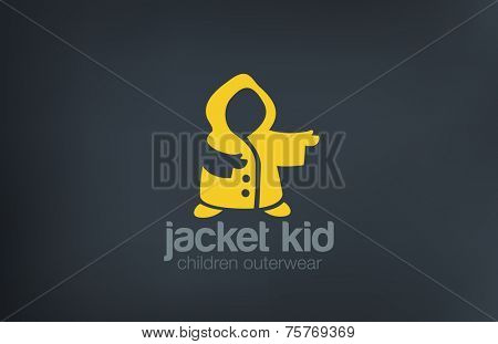 Kid Jacket Silhouette Logo design vector template. Children Outerwear logotype concept icon.