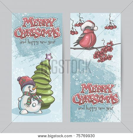 Set Of Vertical Banners For Christmas And The New Year With A Picture Of A Snowman And Bullfinch On