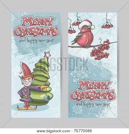 Set Of Vertical Banners For Christmas And The New Year With A Picture Of An Elf And Bullfinch On A B