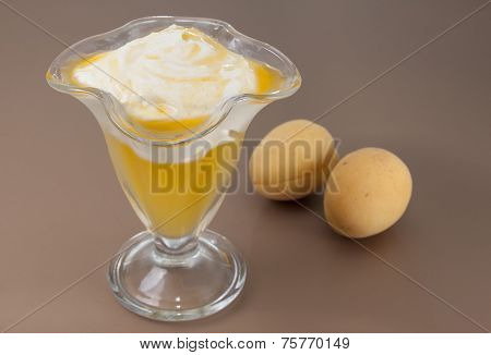 Apricot Jelly With Curd Cream.
