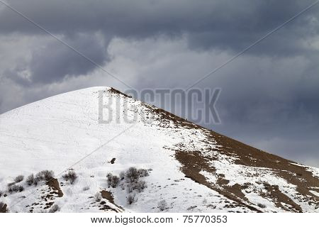 Off Piste Slope And Overcast Gray Sky