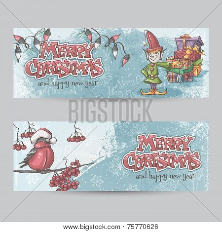 Set Of Horizontal Banners For Christmas And The New Year With A Picture Of An Elf And Bullfinch On A