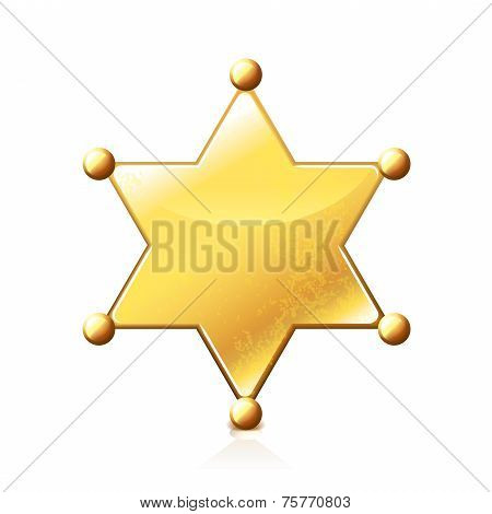Sheriff Star Isolated On White Vector