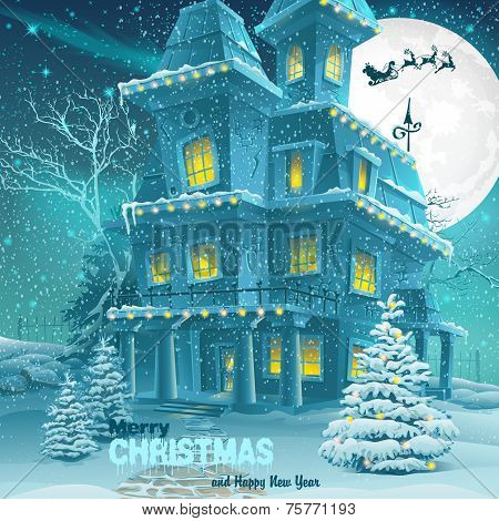 Christmas And New Year Greeting Card With The Image Of A Winter Christmas Night With House And Trees