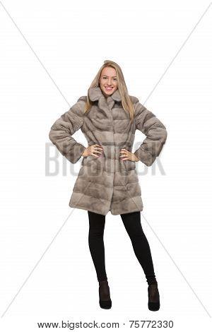 A woman in her fur coat