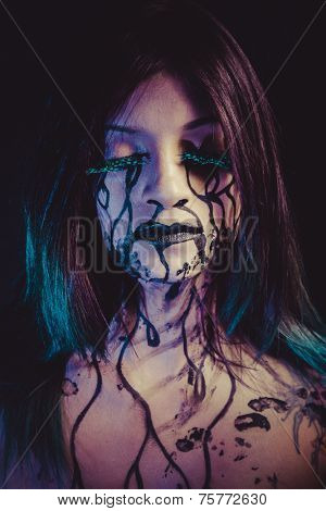 negativity concept, crying woman with tears and makeup dark light