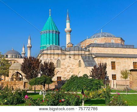 Mevlana museum mosque in Konya. The mausoleum of Jalal ad-Din Muhammad Rumi