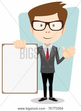 Vector illustration of a cartoon businessman holding blank message board.