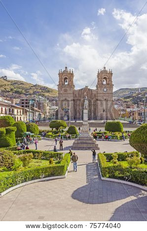 PUNO, PERU, MAY 5, 2014: Plaza de Armas with the seventeenth-century Cathedral
