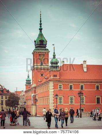WARSAW, POLAND - NOVEMBER 1: Royal Castle Square in Old Town on November, 1, 2014 in Warsaw, Poland. The Old Town in Warsaw is placed on the UNESCO list of World Heritage.