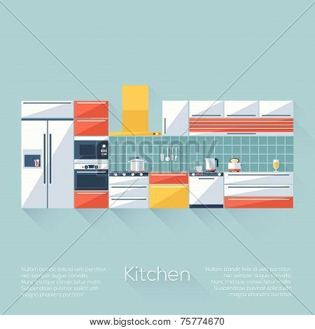 Kitchen Cover With Fridge, Stove, Dishwasher, Toaster And Microwave. Flat Style With Long Shadows. M
