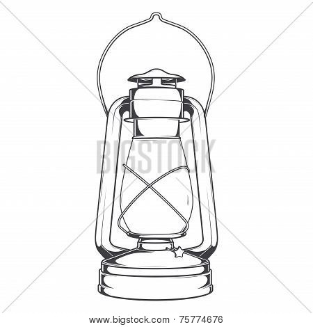 Antique Old Kerosene Lamp Isolated On A White Background. Monochromatic Line Art. Retro Design. Vect