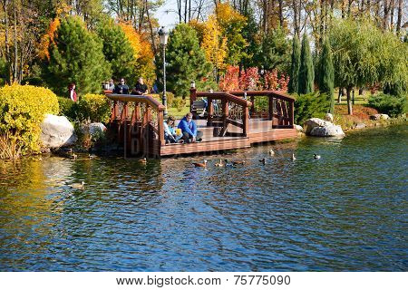 Novi Petrivtsi, Ukraine - October 14: The People Visiting Mezhigirya On October 14, 2014 In Novi Pet