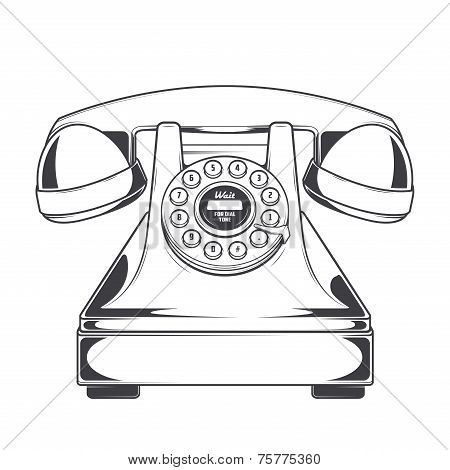 Vintage Phone With Buttons Dial Ring Isolated On A White Background. Monochromatic Line Art. Retro D
