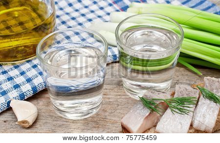 Vodka With Onion And Garlic And A Sandwich