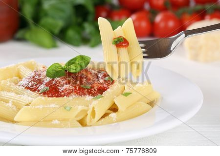 Eating Penne Rigate Napoli With Tomato Sauce Noodles Pasta Meal With Fork